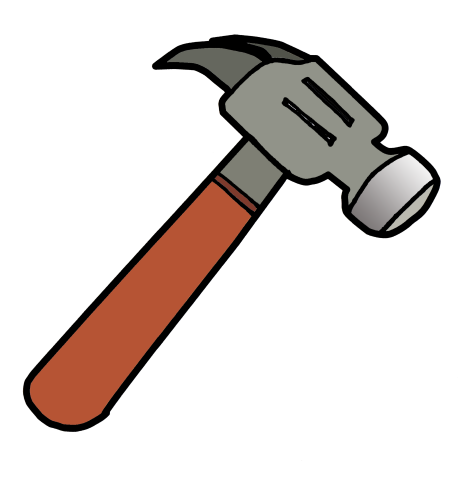 Animate drawing rock hammer. Collection of free hammered