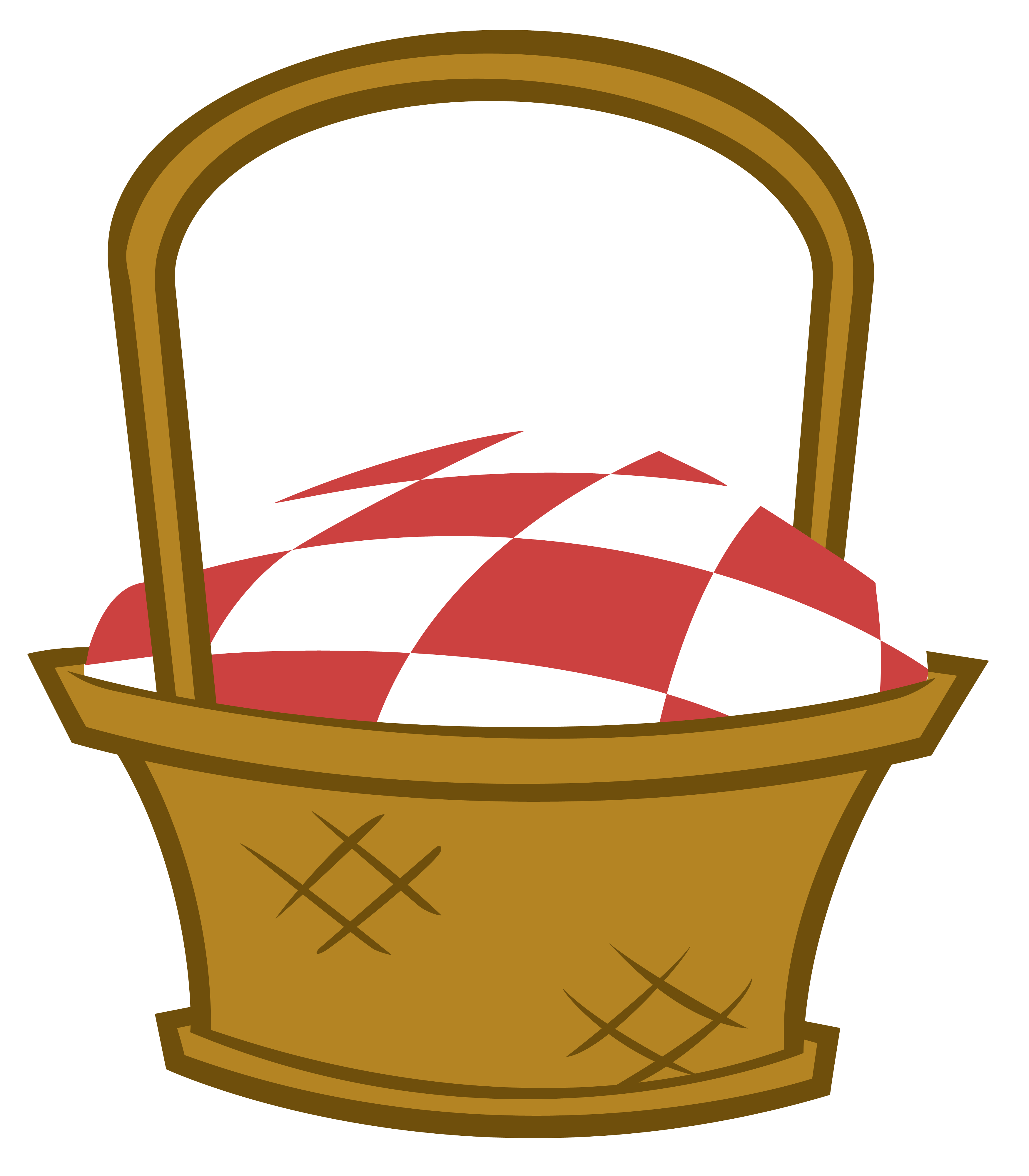 Weaving drawing basket design. Family picnic blanket clipart
