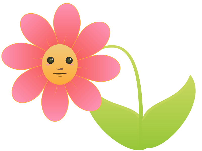 Animated flower png. Cute cartoon clipart