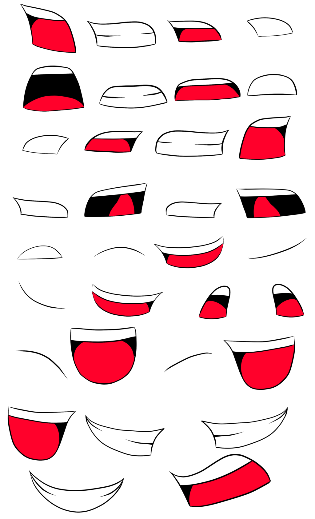 Anime mouth png. Animation sheet by bunniesrawesome