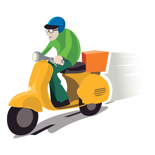 Animation svg scooter. Delivery man on motorbike