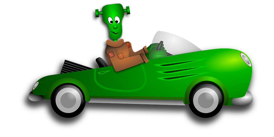 Vampire clip car. Moving animation with css