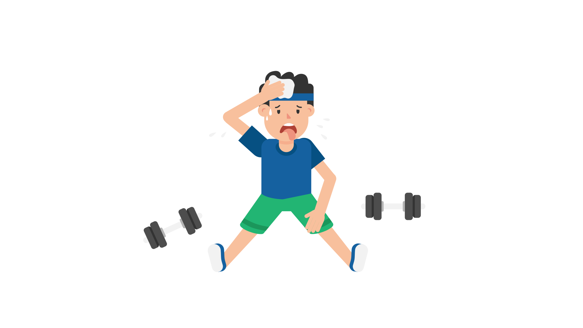Animation vector exercise. File man tired after