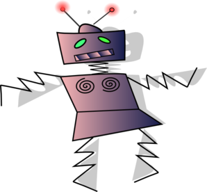 Animation vector technology. Dancing robot clip art