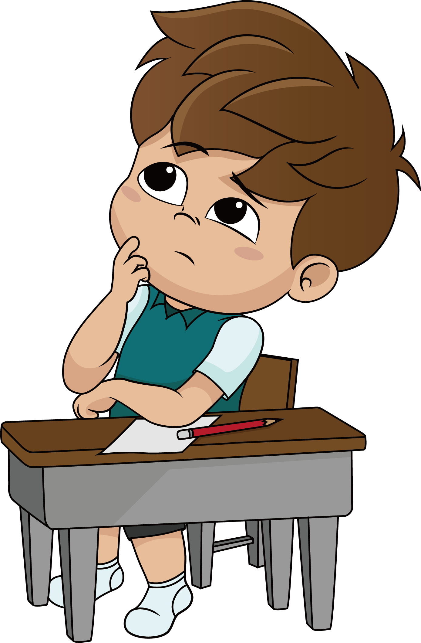 Animation vector thinking. Thought cartoon illustration characters