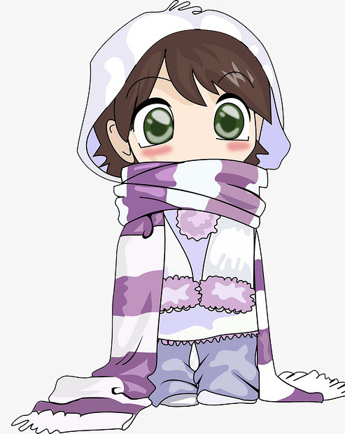Anime clipart animated woman. Girl wearing scarf free