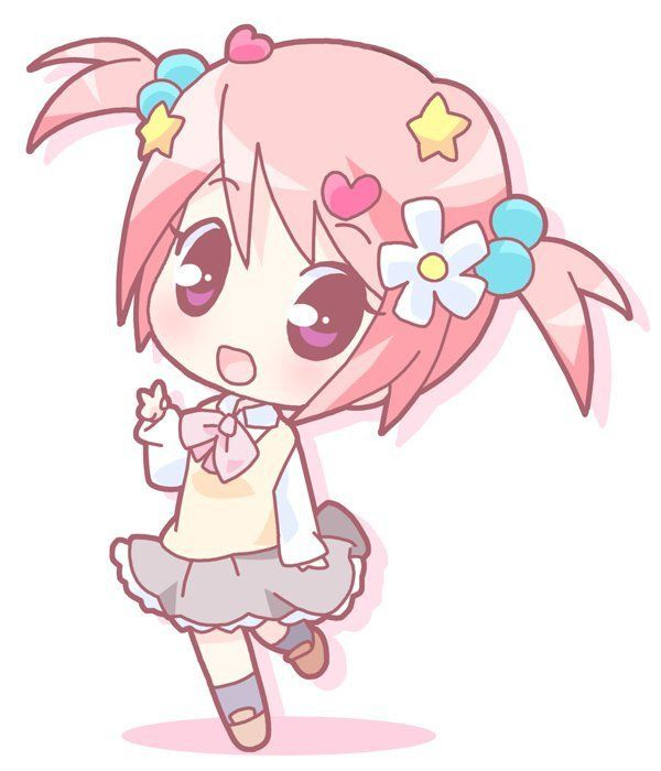 Anime clipart cute. Pink chibi girl free