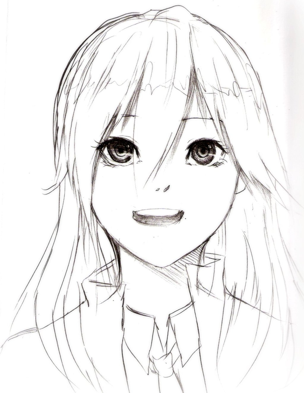 Anime clipart girl sketch. Face drawing at getdrawings