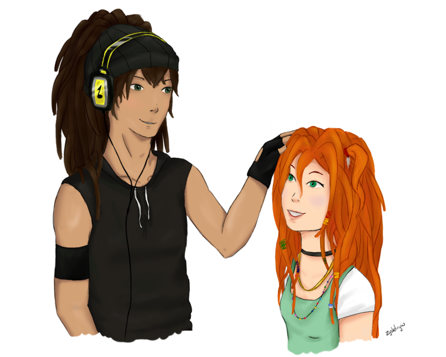 Dreads png drawing. Milizia a redhead with