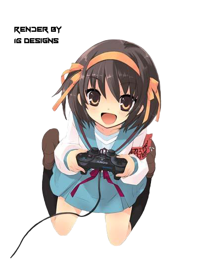 Gamer girl png. Anime render by liany