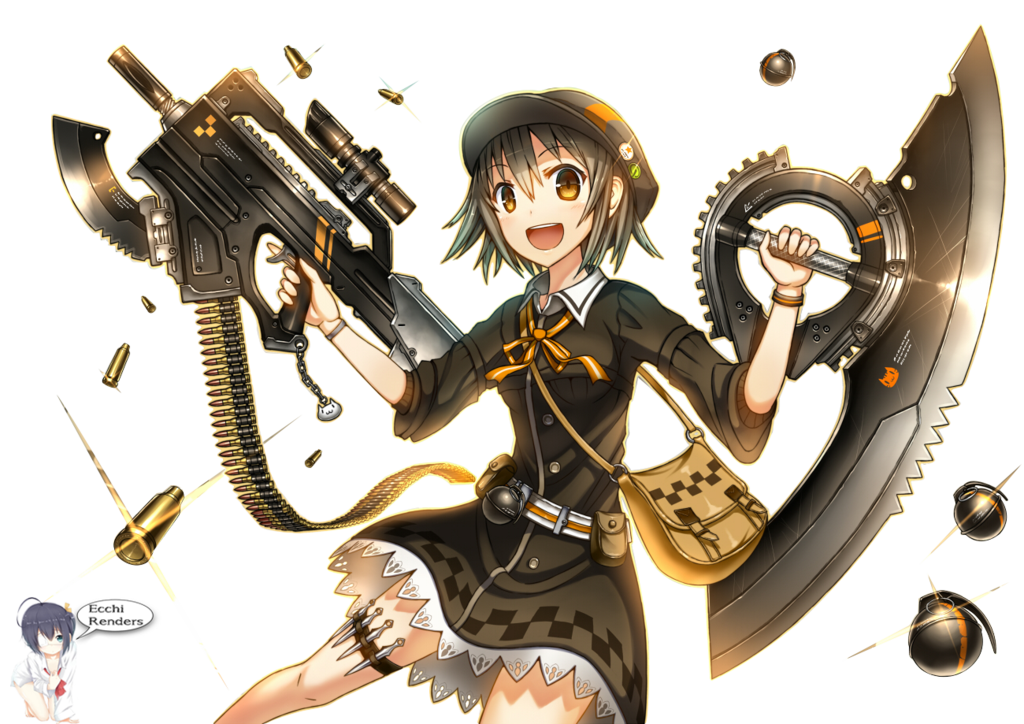 Anime girl gun png. Image with and dagger