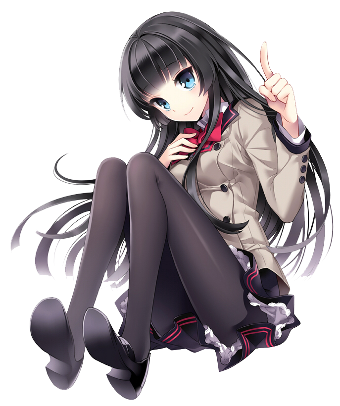 Anime girl sitting png. Render by huangtui on