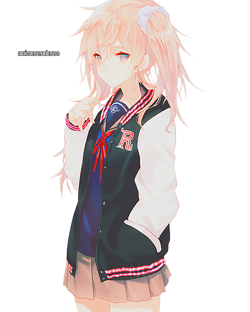 Anime girl waving png. Render by animerenderss on