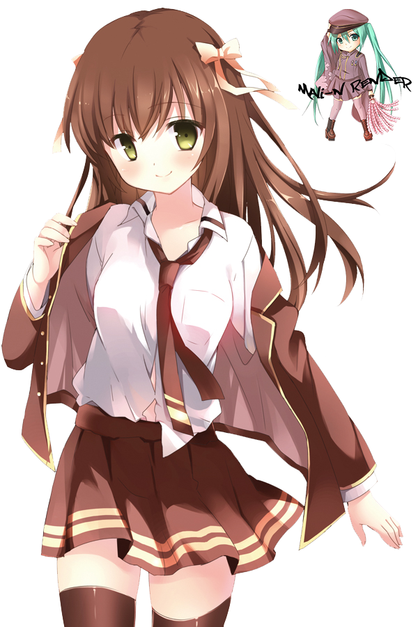 Anime girl with brown hair png. Image render by mali
