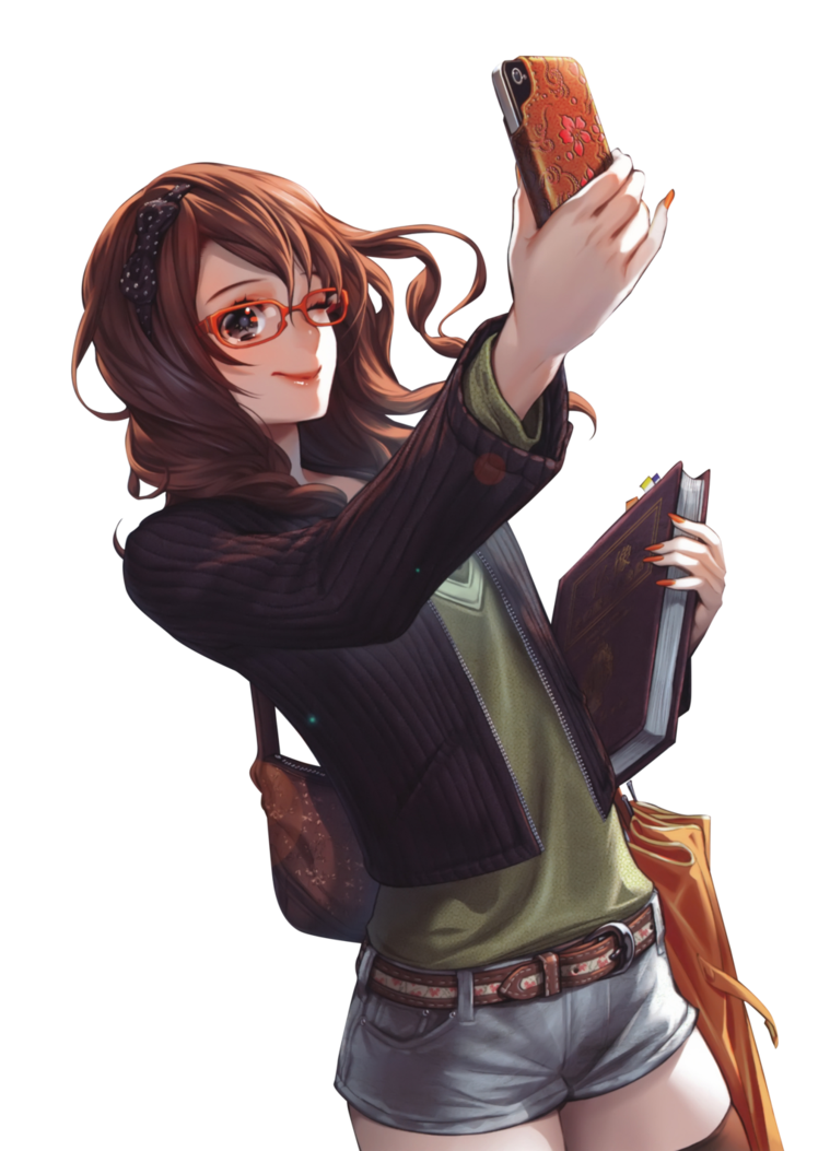 Anime girl with brown hair png. Glasses phone render by