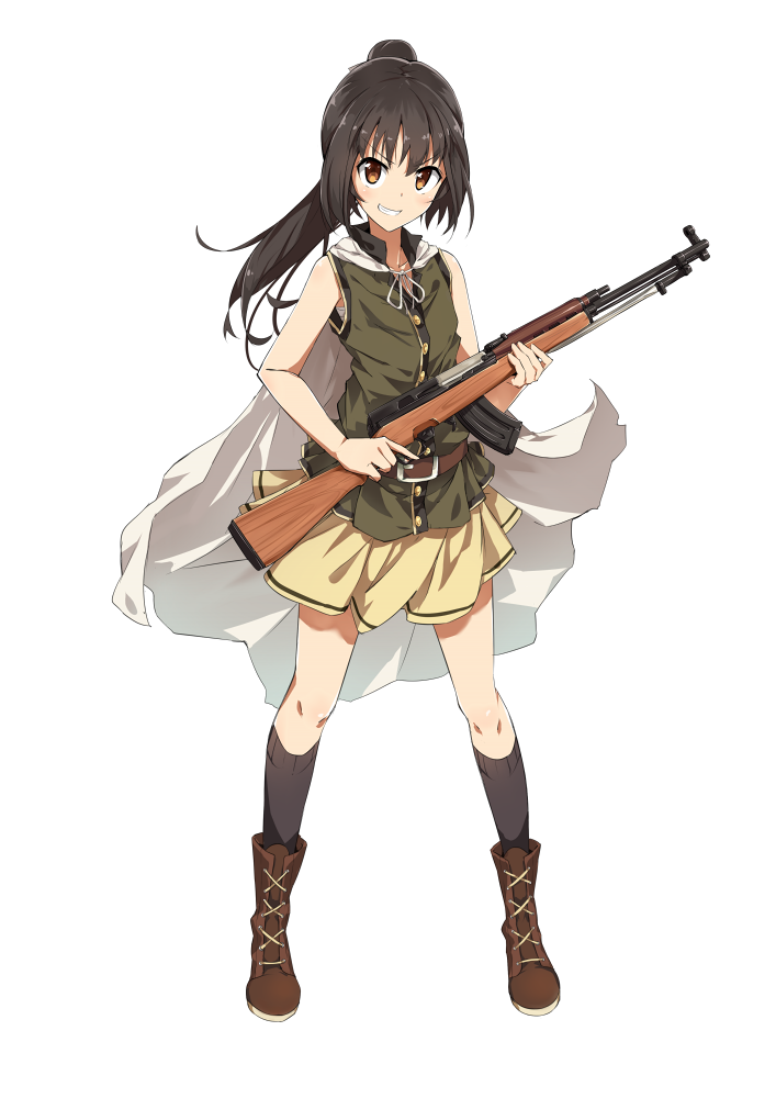 Pin by animyuworks channel. Anime girl with gun png banner transparent library