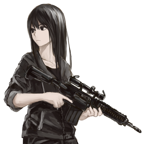 Girls and guns drawings. Anime girl with gun png clip library