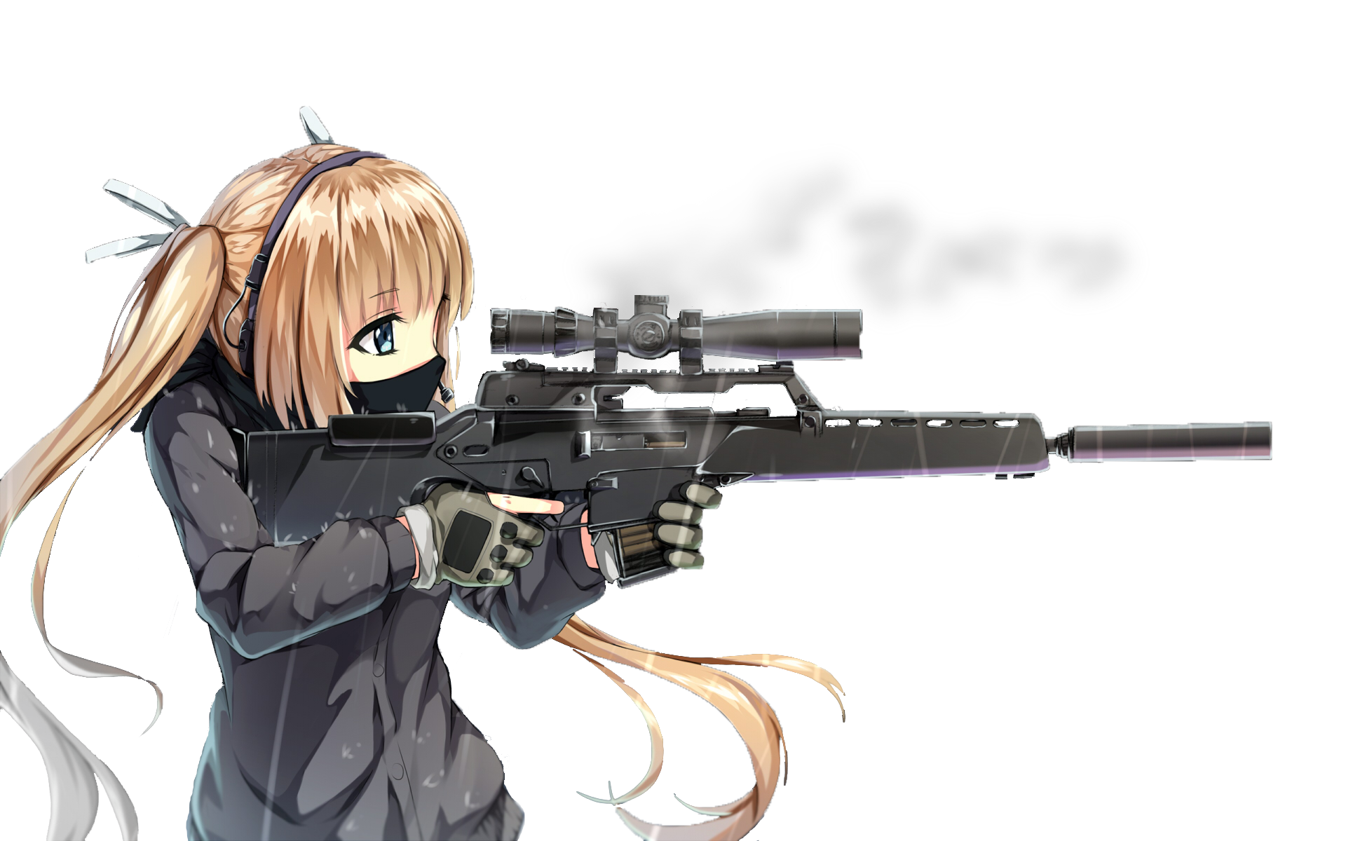 x assassinwarrior long. Anime girl with gun png png royalty free download