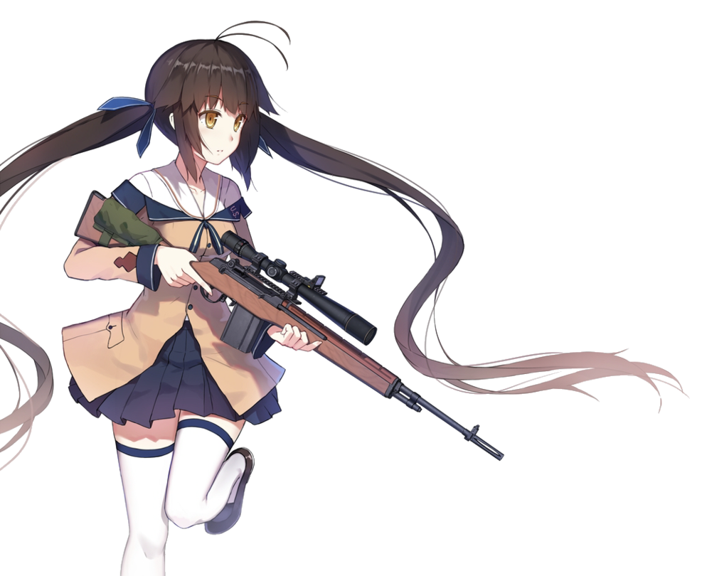 Render by iiijok riii. Anime girl with gun png jpg black and white library