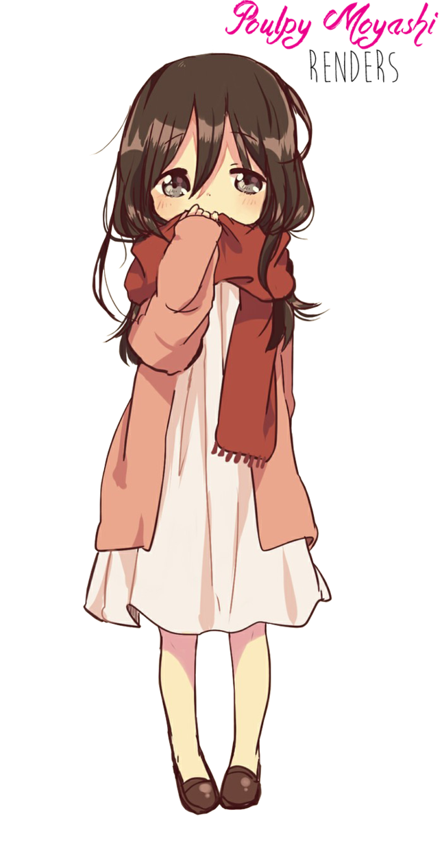 Anime little girl png. Brown hair render by