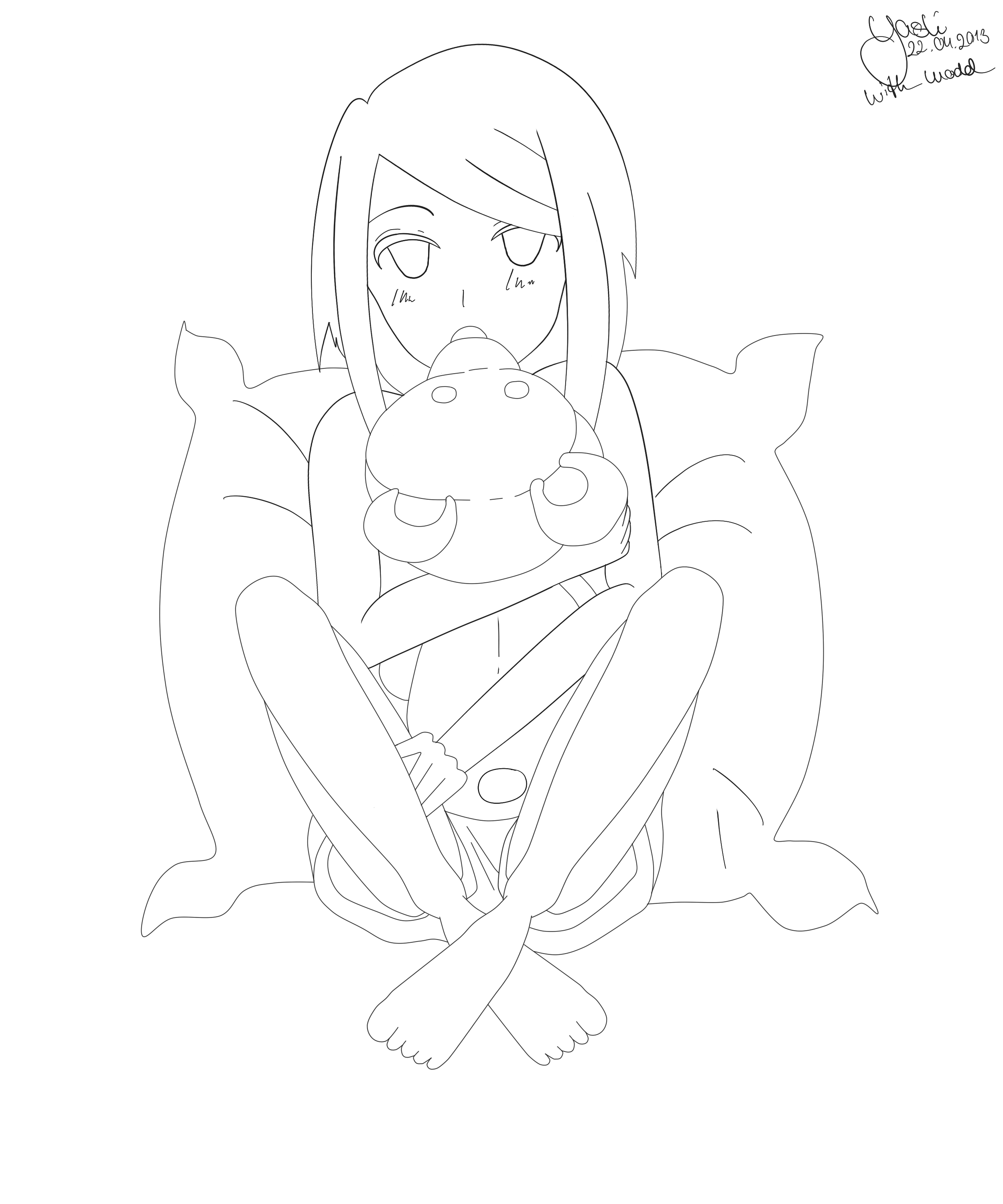 Anime outline png. Outlines girl with a