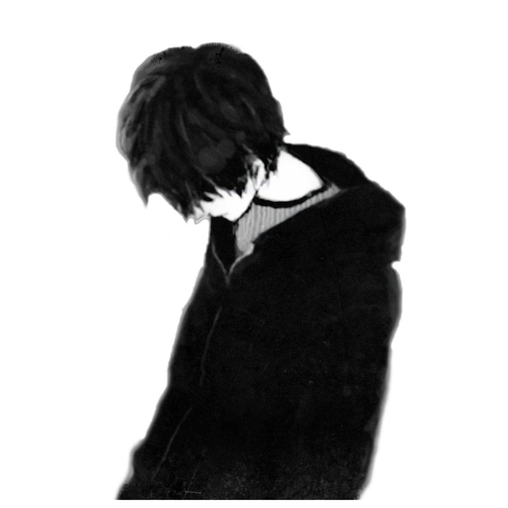 Anime boy sad png. Black and white clipart