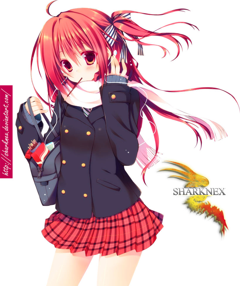 Anime school girl png. Request render by sharknex