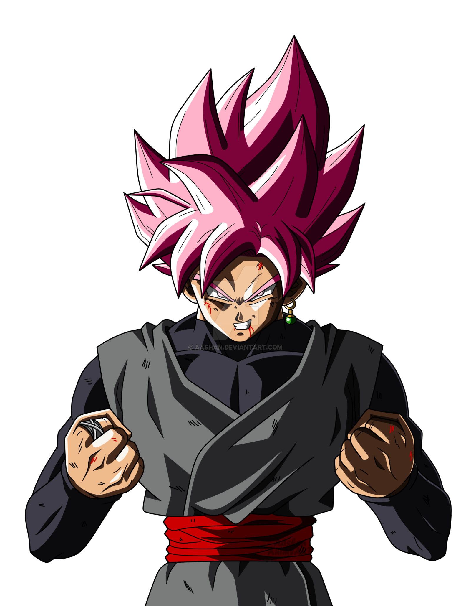Anime transparent png. Ssj rose angry stickpng