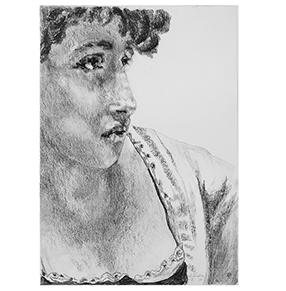 Annie drawing. Shelley charcoal from the