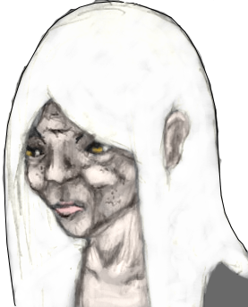 Annotated drawing old face. The logbook project aotp