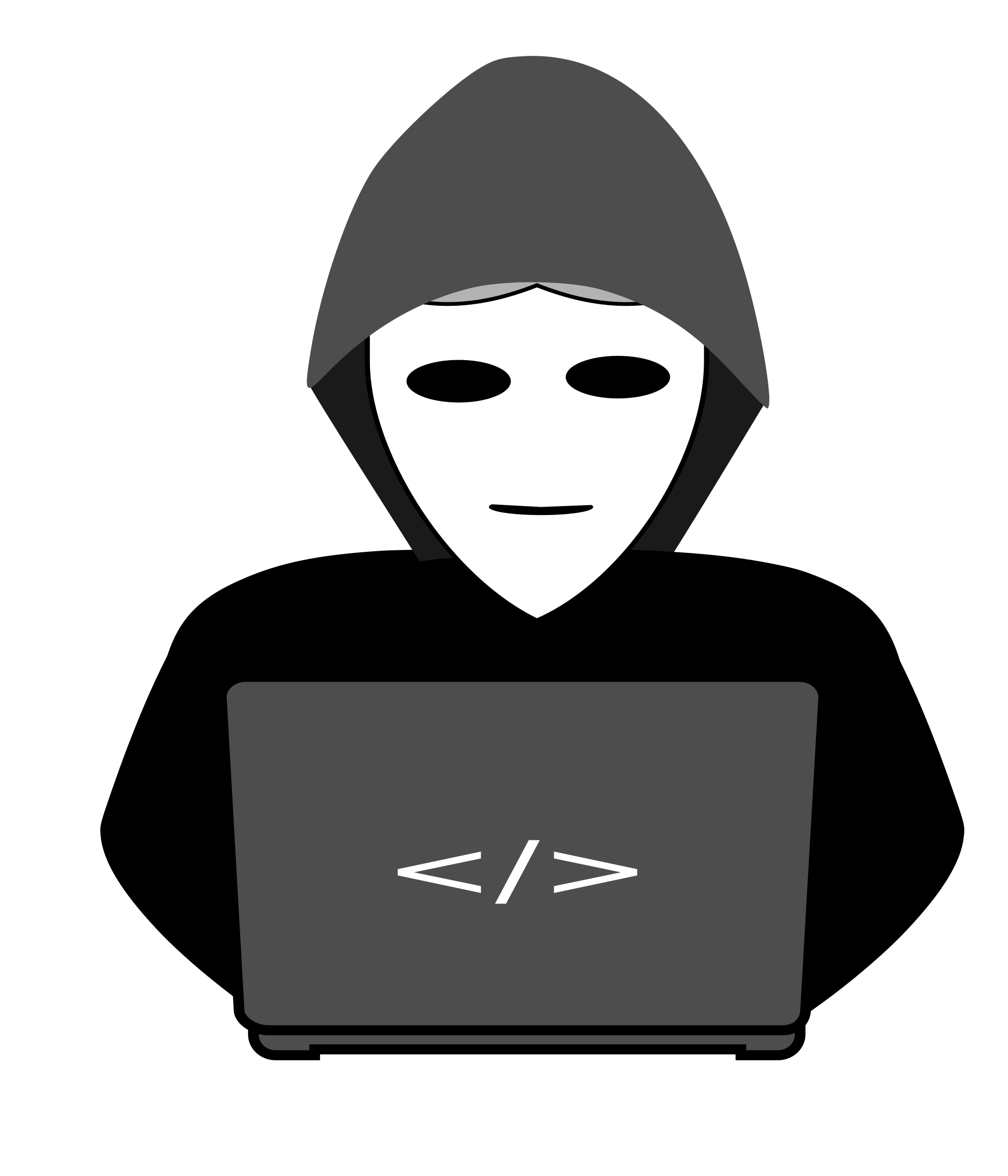 Pc cartoon png. Clipart anonymous hacker behind