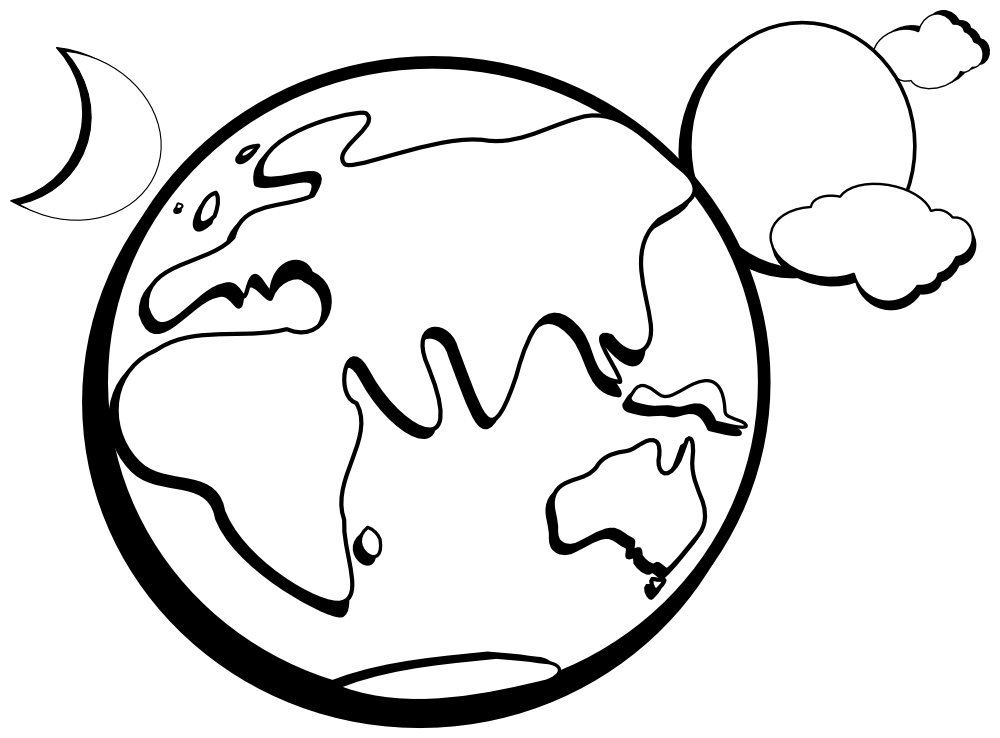 Earth clip printable. Onlinelabels art aussie outline