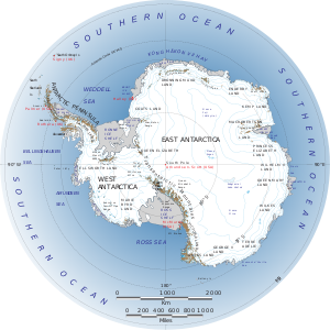 Antarctica drawing underwater. Wikipedia labeled map of