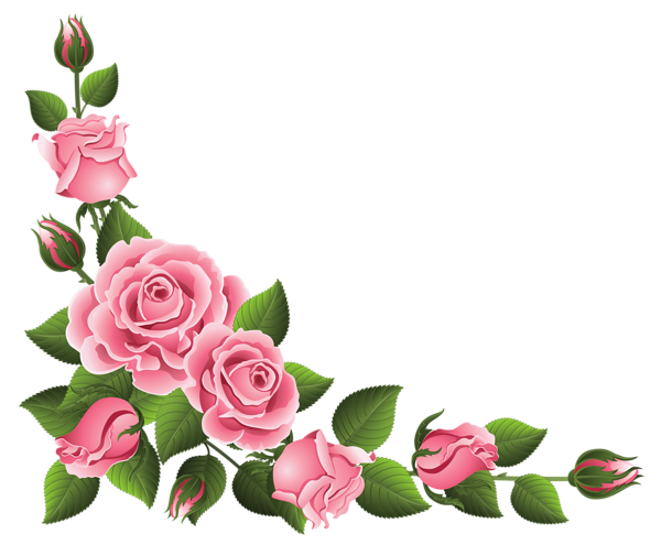 Corners vector rose. Corner decoration with roses