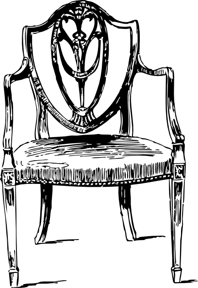 Antiques drawing. Furniture antique chair clip
