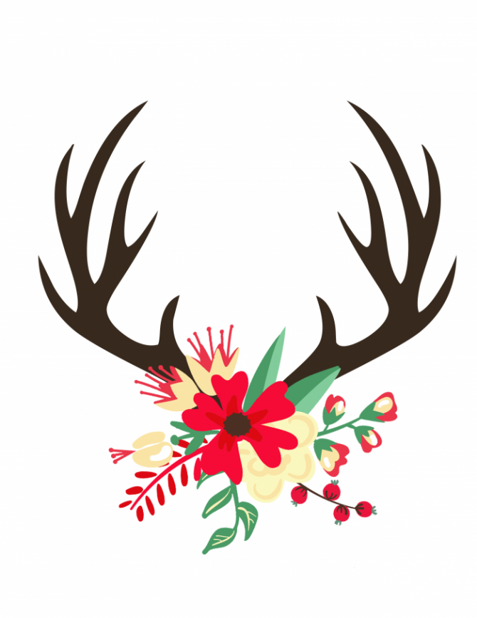 Antler clipart easy. Free christmas printable all