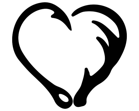 Antler clipart heart. Fish hook svg and