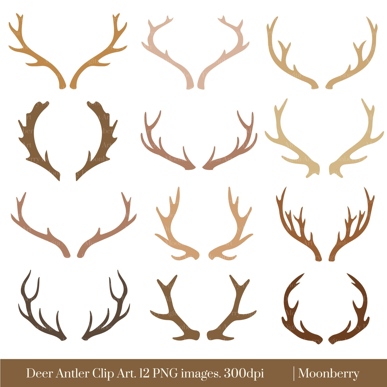 Antler clipart. Awesome collection digital f