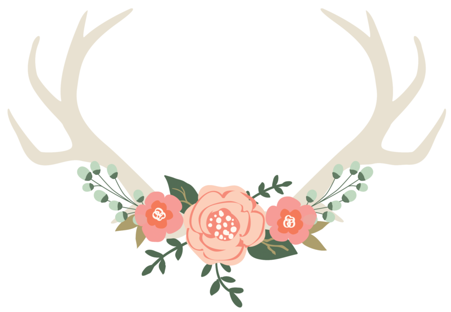 Antlers and flowers png. Image logo photoshop e