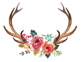 Antlers and flowers png free. Flower antler vector psd