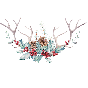 Antlers with flowers png. Vector psd jpg free
