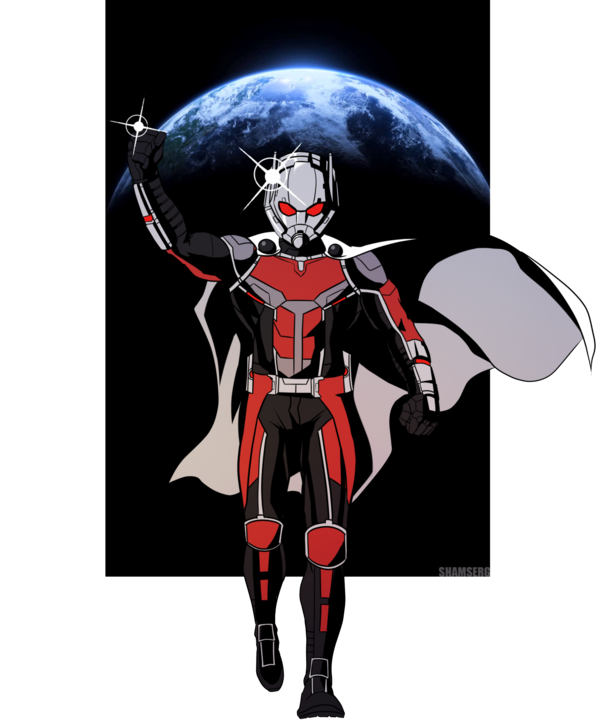 Antman drawing cartoon. One ant man by