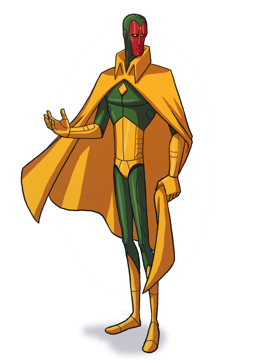 Vision drawing character. Marvel by h a