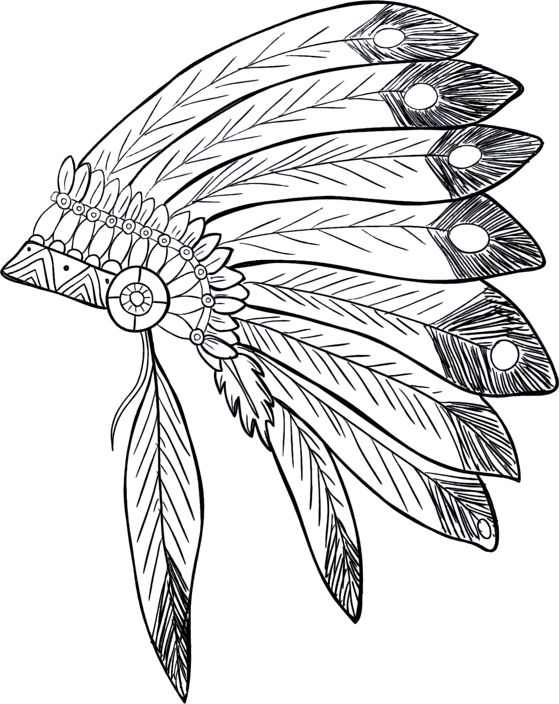 Apache drawing feather. Native american headdress at
