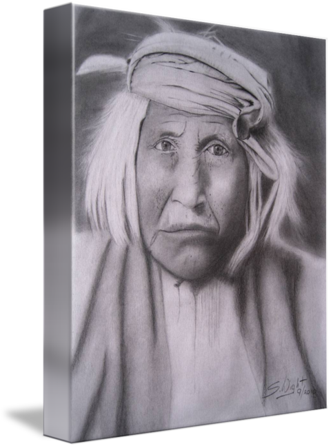 Apache drawing portrait. Last of the warriors