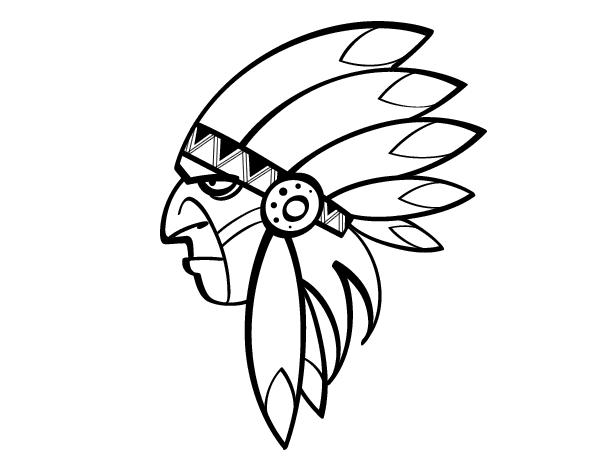 Apache drawing indian head. Face of coloring page