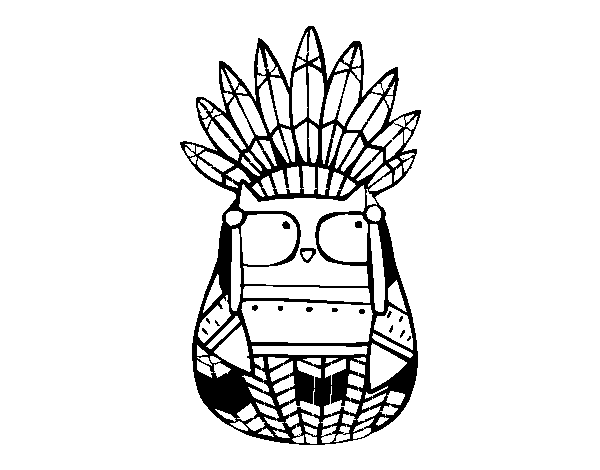 Apache drawing indian head. Owl chief coloring page