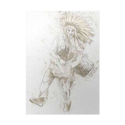 Apache drawing indian head. Chief plays the drum