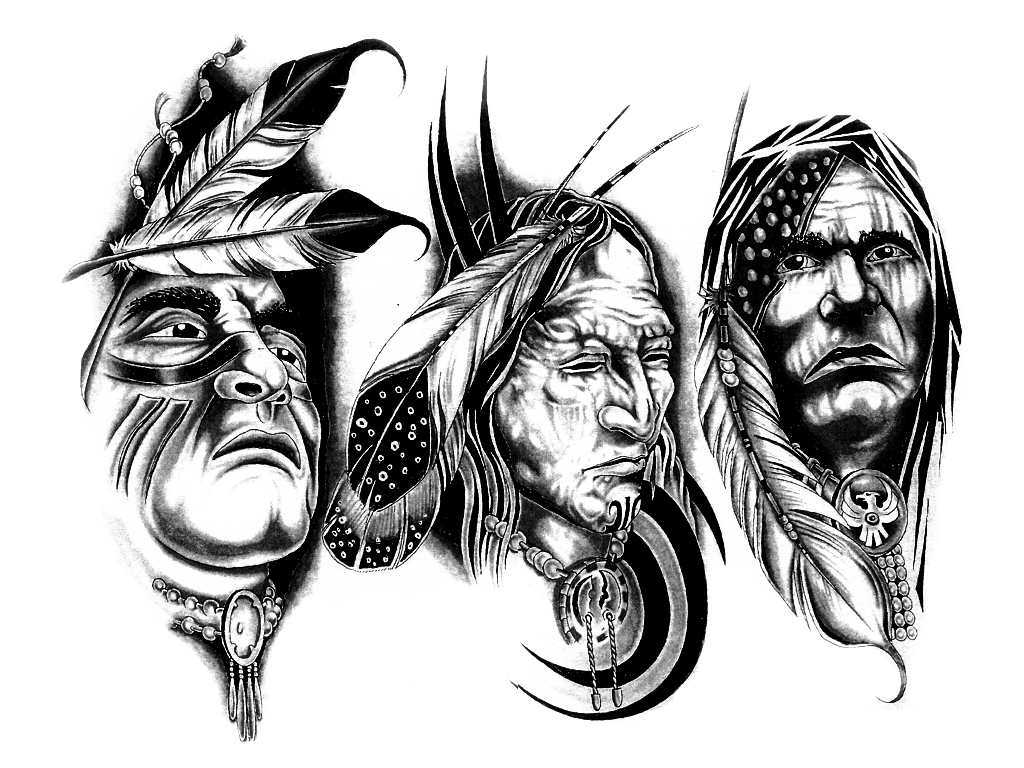 Apache drawing pen and ink. Skull crown tattoo on