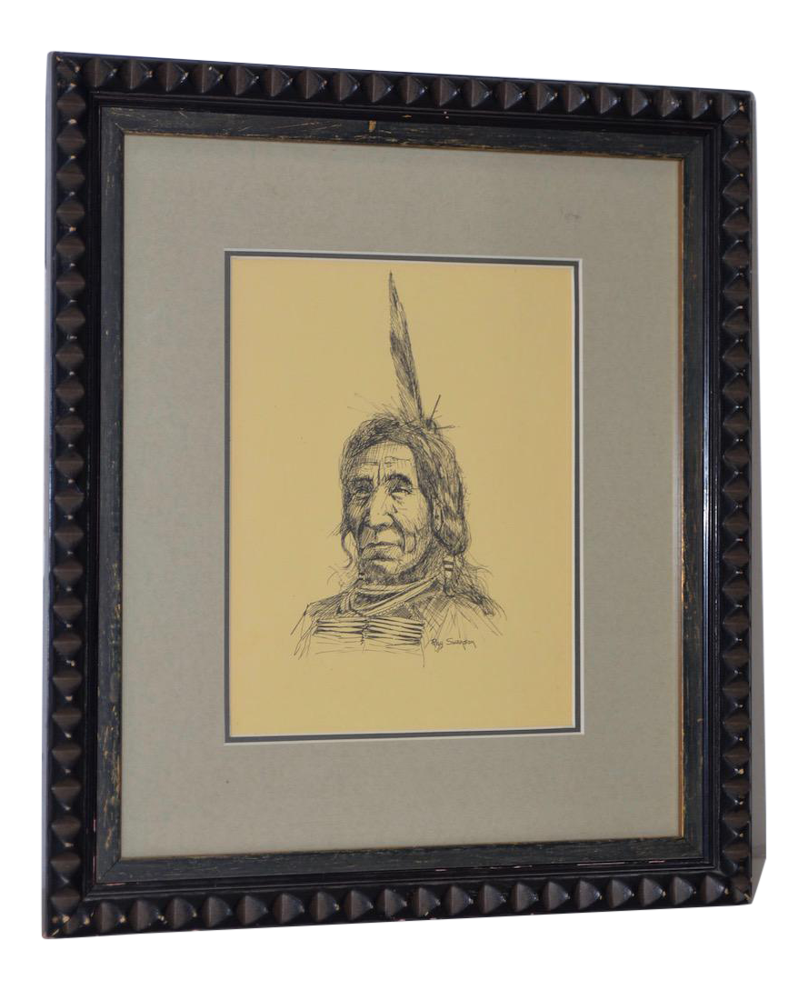 Western drawing pen and ink. Ray swanson native american